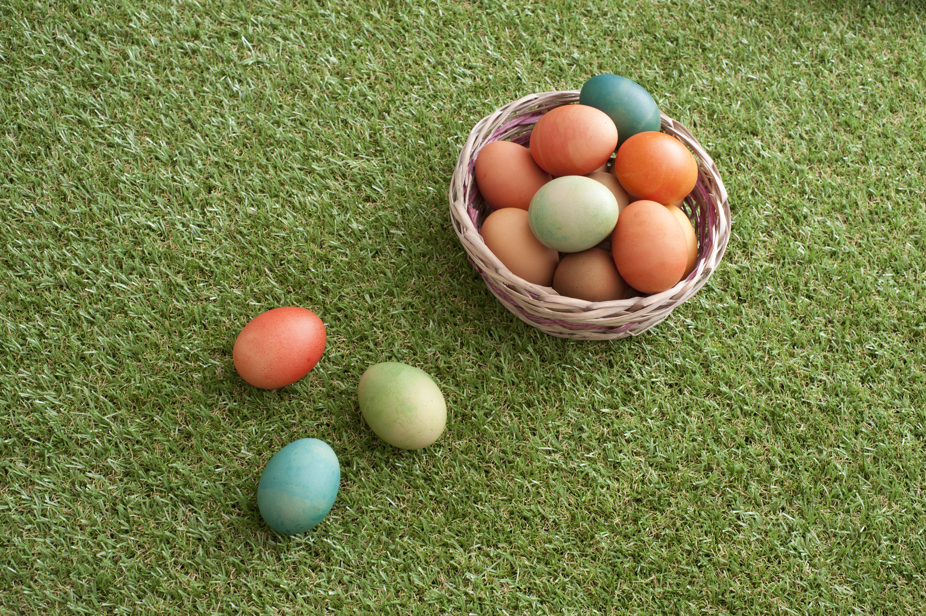 easter_egg_basket.jpg - Country Easter with homemade dyed boiled eggs in a wicker basket on green spring grass with three laid to the side and copy space, high angle view