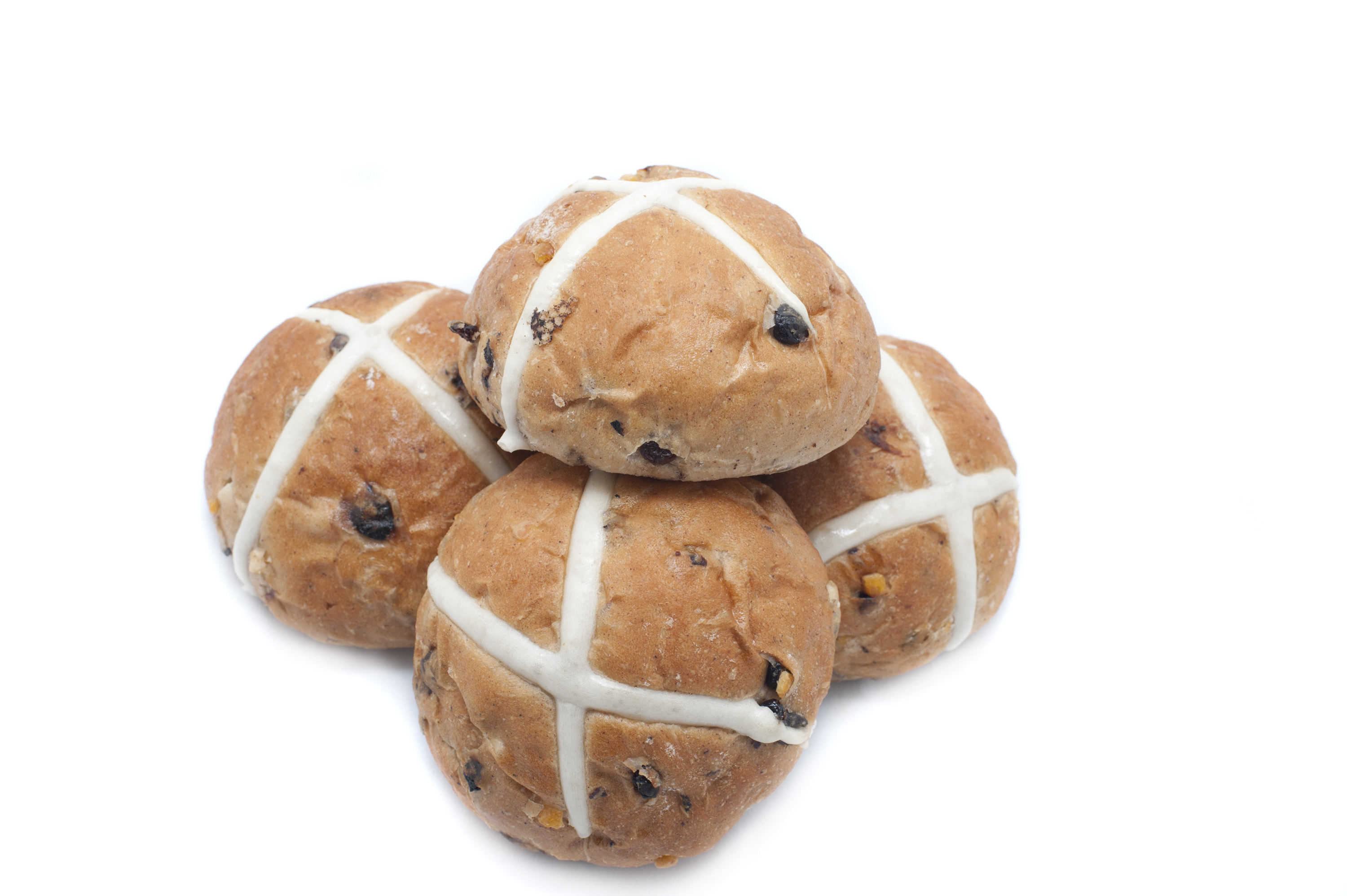 isolated_hot_cross_buns.jpg - Pile of delicious whole fresh Hot Cross Buns with spices and raisins to celebrate Easter on a white background